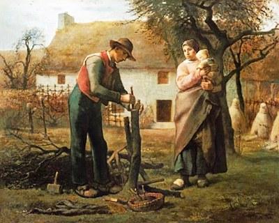 Familia campesina injertando un retoño de un árbol viejo